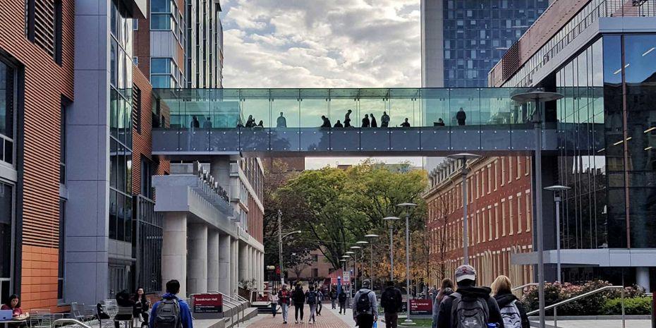 Students at Temple U use elevated glass crosswalk between buildings